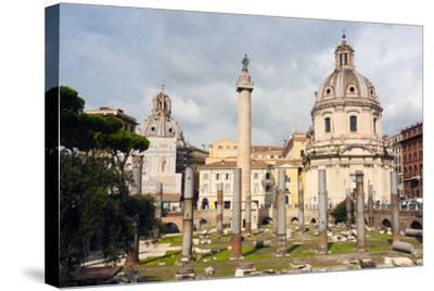 Trajan's Column Between Dome of St. Maria Di Loreto (Left) and Ss.Nome Di Maria, Latium, Italy-Nico Tondini-Stretched Canvas Print