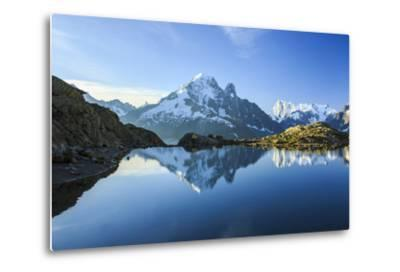 The Snowy Peaks of Mont Blanc are Reflected in the Blue Water of Lac Blanc at Dawn, France-Roberto Moiola-Metal Print