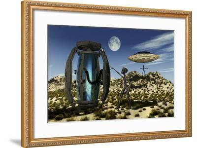 Grey Aliens Tending to a Storage Container Used to Transport Specimens-Stocktrek Images-Framed Art Print