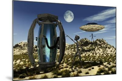 Grey Aliens Tending to a Storage Container Used to Transport Specimens-Stocktrek Images-Mounted Art Print