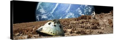 An Astronaut Surveys His Situation on a Barren and Rocky Moon-Stocktrek Images-Stretched Canvas Print