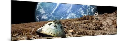 An Astronaut Surveys His Situation on a Barren and Rocky Moon-Stocktrek Images-Mounted Art Print