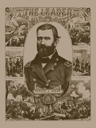 Civil War Poster of General Ulysses S. Grant Wearing His Military Uniform-Stocktrek Images-Framed Art Print