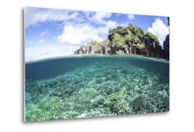 A Beautiful Coral Reef Grows Near a Set of Limestone Islands in Indonesia-Stocktrek Images-Metal Print
