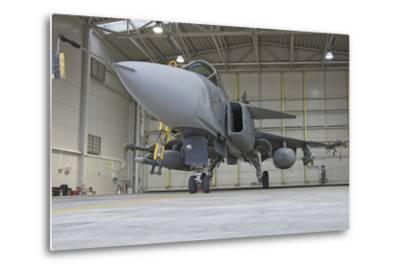 A Hungarian Air Force Jas-39 Gripen in the Hangar-Stocktrek Images-Metal Print