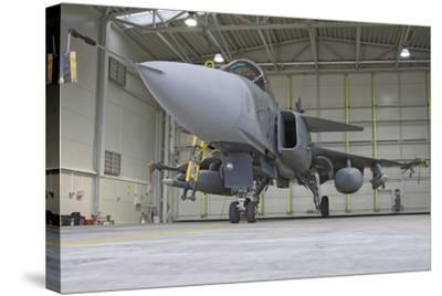 A Hungarian Air Force Jas-39 Gripen in the Hangar-Stocktrek Images-Stretched Canvas Print