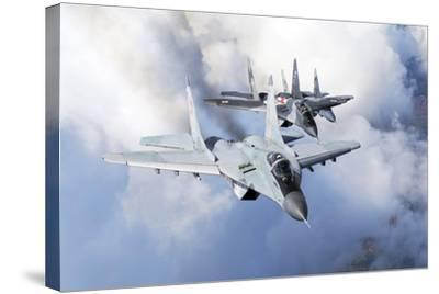 Bulgarian and Polish Air Force Mig-29S Planes Flying over Bulgaria-Stocktrek Images-Stretched Canvas Print