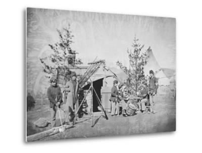Camp Scene During the American Civil War-Stocktrek Images-Metal Print