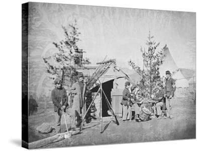 Camp Scene During the American Civil War-Stocktrek Images-Stretched Canvas Print