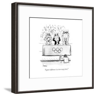 """I guess influence is a two-way street."" - Cartoon-Benjamin Schwartz-Framed Premium Giclee Print"