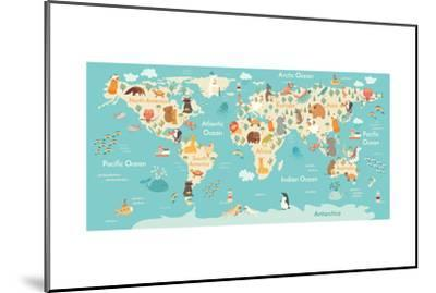 Animals World Map-coffeee_in-Mounted Art Print