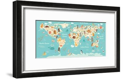 Animals World Map-coffeee_in-Framed Art Print