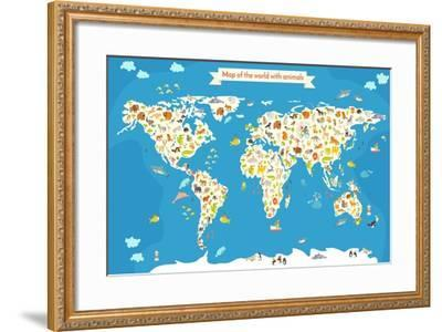 Map of the World with Animals. Beautiful Colorful Vector Illustration-coffeee_in-Framed Art Print