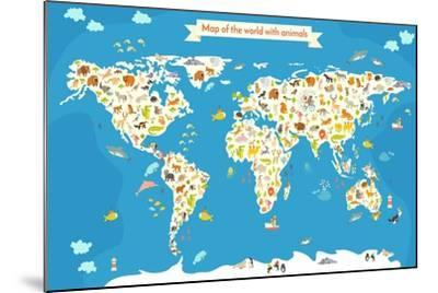 Map of the World with Animals. Beautiful Colorful Vector Illustration-coffeee_in-Mounted Art Print