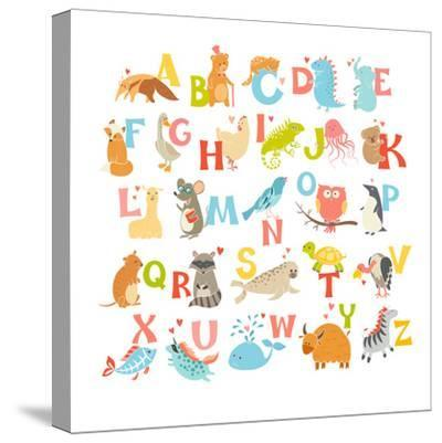 Cute Vector Zoo Alphabet. Funny Cartoon Animals-coffeee_in-Stretched Canvas Print
