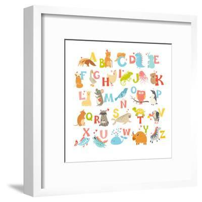 Cute Vector Zoo Alphabet. Funny Cartoon Animals-coffeee_in-Framed Art Print