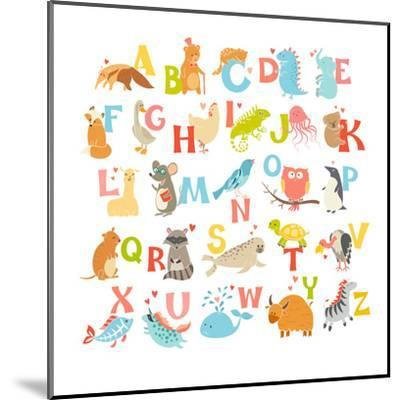 Cute Vector Zoo Alphabet. Funny Cartoon Animals-coffeee_in-Mounted Art Print
