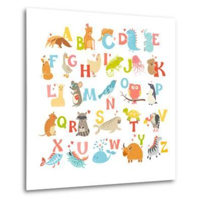 Cute Vector Zoo Alphabet. Funny Cartoon Animals-coffeee_in-Metal Print