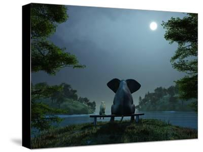 Elephant and Dog Meditate at Summer Night-Mike_Kiev-Stretched Canvas Print