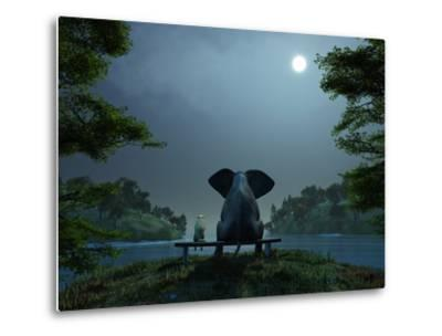 Elephant and Dog Meditate at Summer Night-Mike_Kiev-Metal Print
