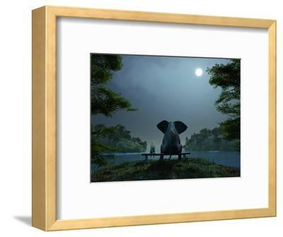 Elephant and Dog Meditate at Summer Night-Mike_Kiev-Framed Premium Photographic Print