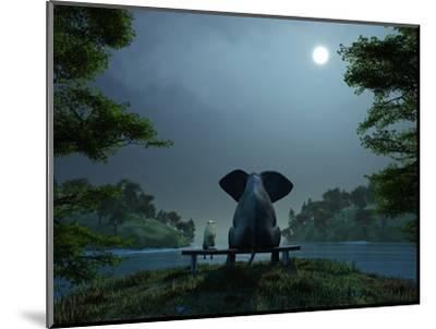 Elephant and Dog Meditate at Summer Night-Mike_Kiev-Mounted Premium Photographic Print