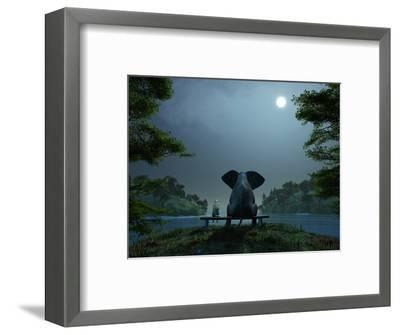 Elephant and Dog Meditate at Summer Night-Mike_Kiev-Framed Photographic Print