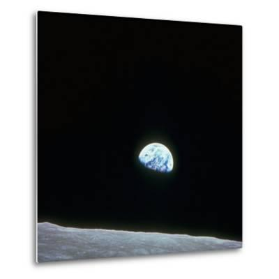 Earth Rising over Curvature of the Moon as Seen from Apollo 8--Metal Print