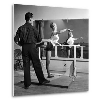 Young Upcoming Starlet Marilyn Monroe Practicing in Dance Class-J^ R^ Eyerman-Metal Print