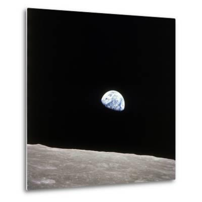 Apollo 8 View of Earth Rise over the Moon--Metal Print