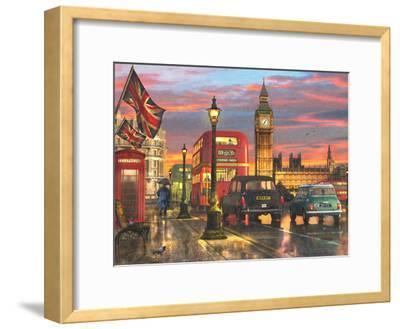 Raining Parliament Square (Variant 1)-Dominic Davison-Framed Art Print