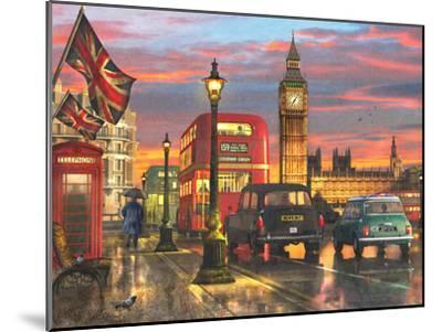 Raining Parliament Square (Variant 1)-Dominic Davison-Mounted Art Print