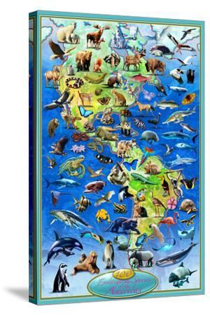 100 Endangered Species-Adrian Chesterman-Stretched Canvas Print