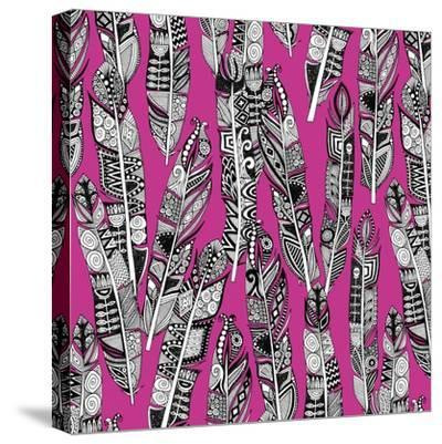 Geo Feathers (Variant 2)-Sharon Turner-Stretched Canvas Print