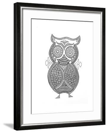Bird Owl 1-Neeti Goswami-Framed Art Print