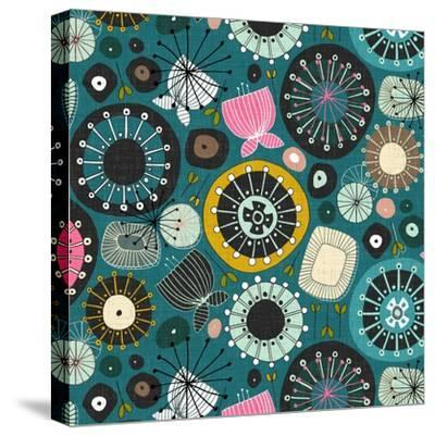 Blooms Teal Sq-Sharon Turner-Stretched Canvas Print