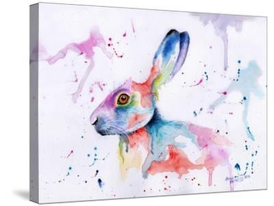 Hare Watercolour-Sarah Stribbling-Stretched Canvas Print