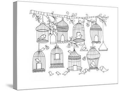 Pattern Birdcages-Neeti Goswami-Stretched Canvas Print