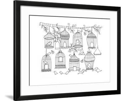Pattern Birdcages-Neeti Goswami-Framed Art Print