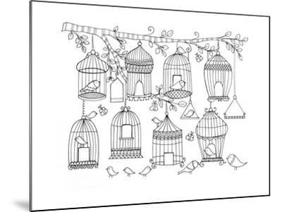 Pattern Birdcages-Neeti Goswami-Mounted Art Print