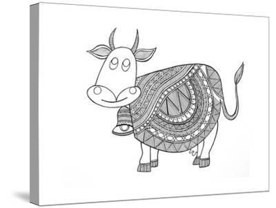 Animals Cow 3-Neeti Goswami-Stretched Canvas Print