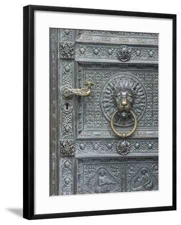 Cologne Lions Head Door-George Johnson-Framed Photographic Print