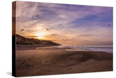 Morning Beach Walk-Sally Linden-Stretched Canvas Print