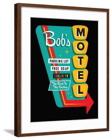 Bob's Motel in Black-JJ Brando-Framed Art Print