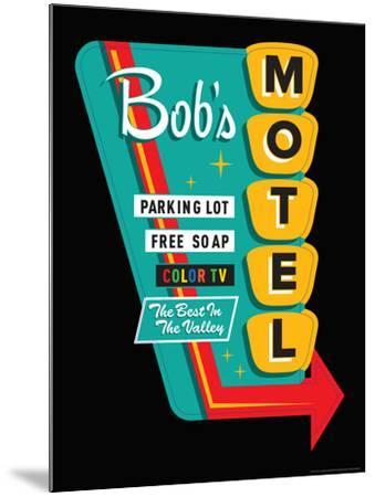 Bob's Motel in Black-JJ Brando-Mounted Art Print