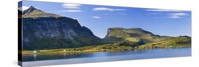 Scandinavia, Norway, Lofoten, Moskenesoey, Krystad, Fisher-Village, Mountain-Landscape, Panorama-Rainer Mirau-Stretched Canvas Print