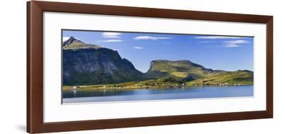 Scandinavia, Norway, Lofoten, Moskenesoey, Krystad, Fisher-Village, Mountain-Landscape, Panorama-Rainer Mirau-Framed Photographic Print