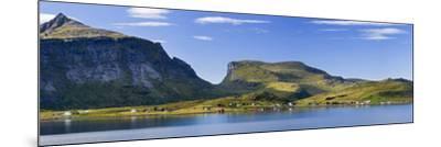 Scandinavia, Norway, Lofoten, Moskenesoey, Krystad, Fisher-Village, Mountain-Landscape, Panorama-Rainer Mirau-Mounted Photographic Print