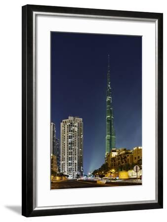 Burj Khalifa, the Highest Tower of the World, Night Photography-Axel Schmies-Framed Photographic Print