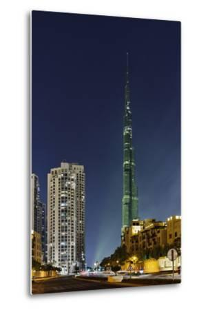 Burj Khalifa, the Highest Tower of the World, Night Photography-Axel Schmies-Metal Print